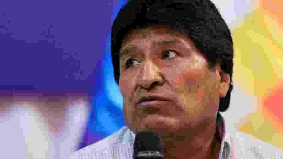 O presidente da Bolívia, Evo Morales, durante conferência em Santa Cruz, na Bolívia - DAVID MERCADO/REUTERS
