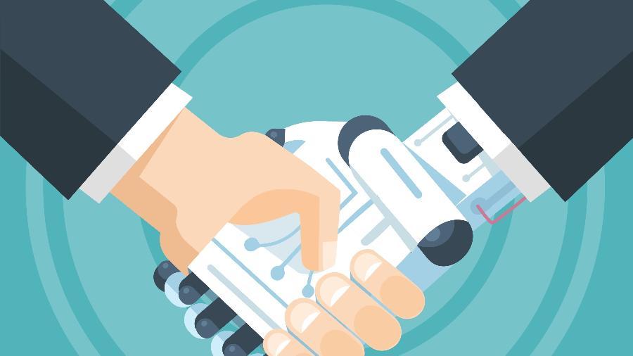 Aperto de mão entre um humanos e um robô: máquina ganham cada vez mais poder - Getty Images/iStockphoto