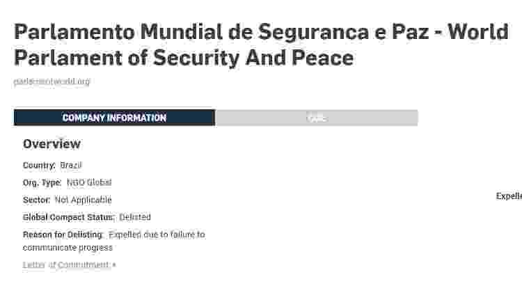 Reprodução do site da ONU com a informação da saída da WPO da lista de instituições  - Reprodução - Reprodução