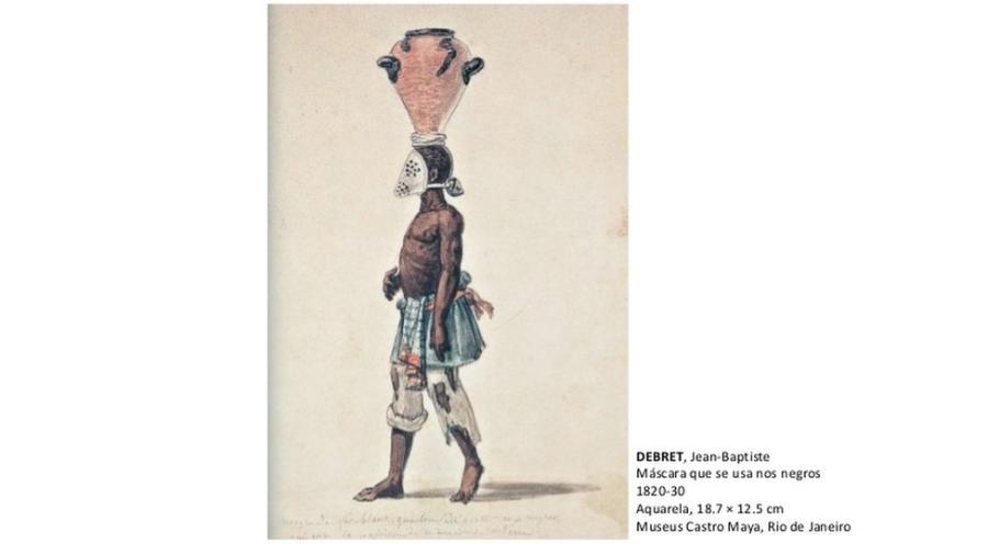 Reprodução de aquarela pintada por Jean-Baptiste Debret; escravos responsáveis pelo manejo de esgoto de cidades brasileiras - Reprodução/IBRAM