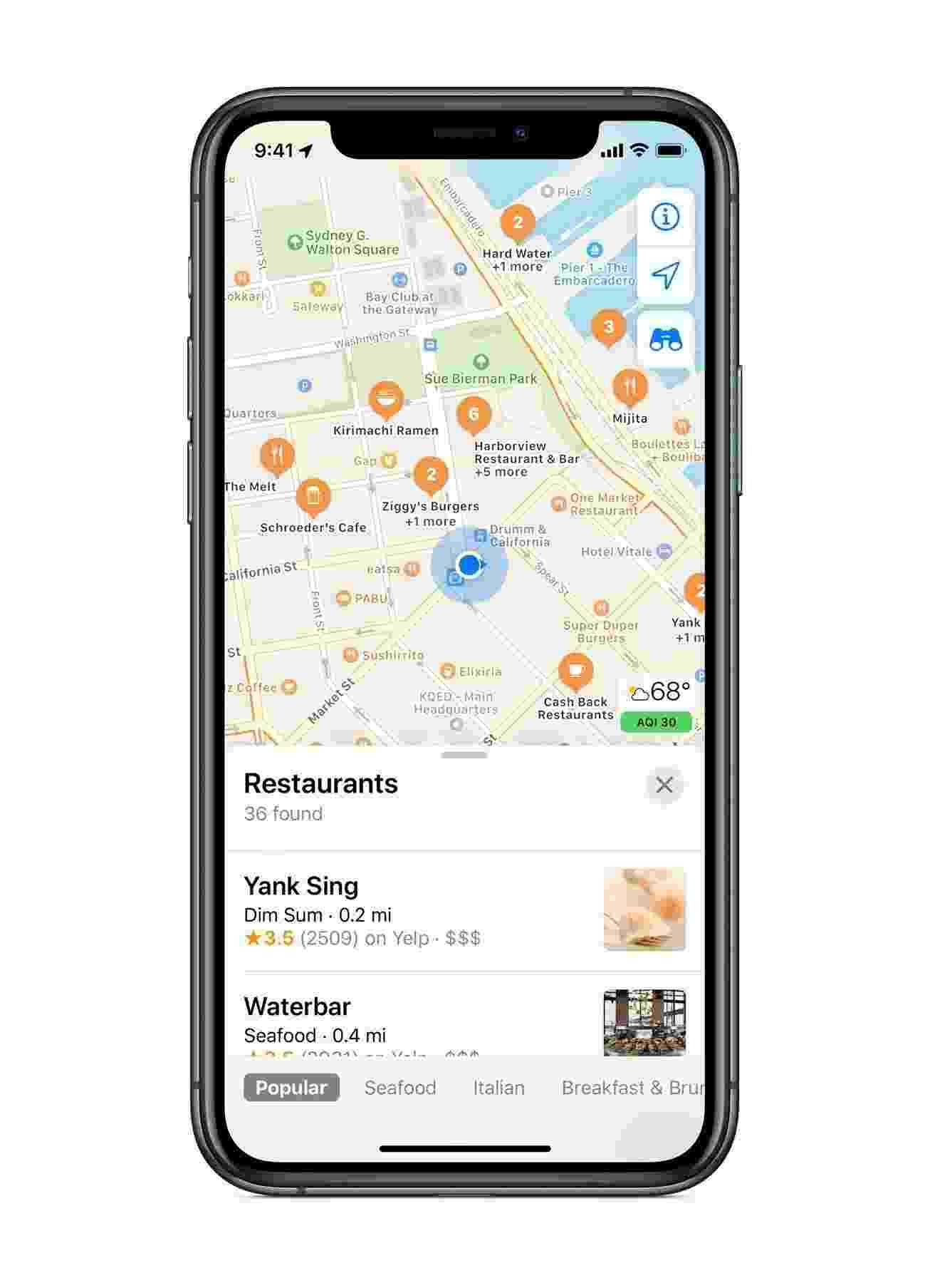 Disponível apenas nos EUA, novo Apple Maps traz vias e prédios mais detalhados - Divulgação/Apple