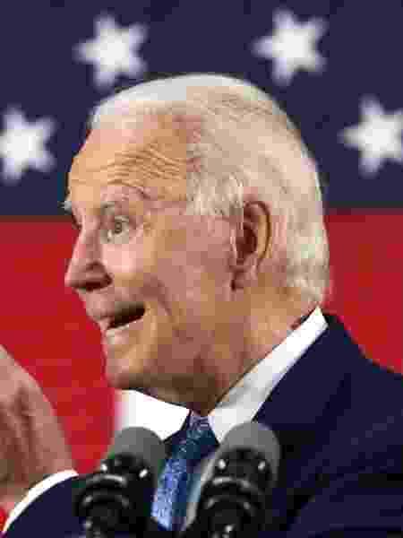 Joe Biden, candidato do Partido Democrata à eleição presidencial dos Estados Unido, durante discurso em Delaware - Alex Wong/Getty Images/AFP