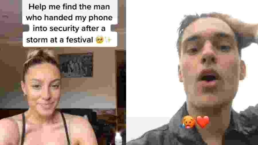 """Cherie Jones escreveu no Tik Tok: """"Me ajudem a encontrar o homem que entregou meu telefone para a segurança depois de uma tempestade em um festival"""" - Reprodução/TikTok/vodkalimesoda"""