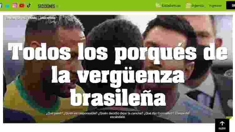 """5.set.2021 - Em seu site, o jornal esportivo argentino """"Olé"""" tratou a interrupção de Brasil x Argentina como """"vergonha brasileira"""" - Reprodução/Olé.com.ar - Reprodução/Olé.com.ar"""