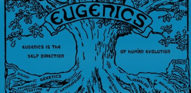 """A logomarca do programa de eugenia dizia: """"Eugenia é a direção própria da evolução humana. Como uma árvore, retira seus materiais de muitas fontes e os organiza em uma unidade harmoniosa""""  - BBC"""