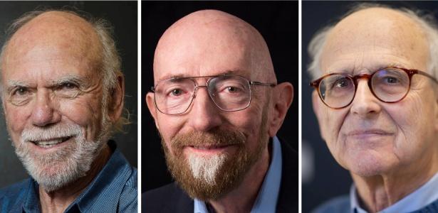 Da esquerda para direita, os físicos Barry Barish, Kip S. Thorne e Rainer Weiss, que dividem o Nobel de Física 2017