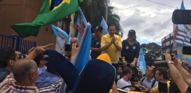 27.out.2018 - João Doria participa de carreata no Tatuapé, zona leste de São Paulo, na tarde de sábado