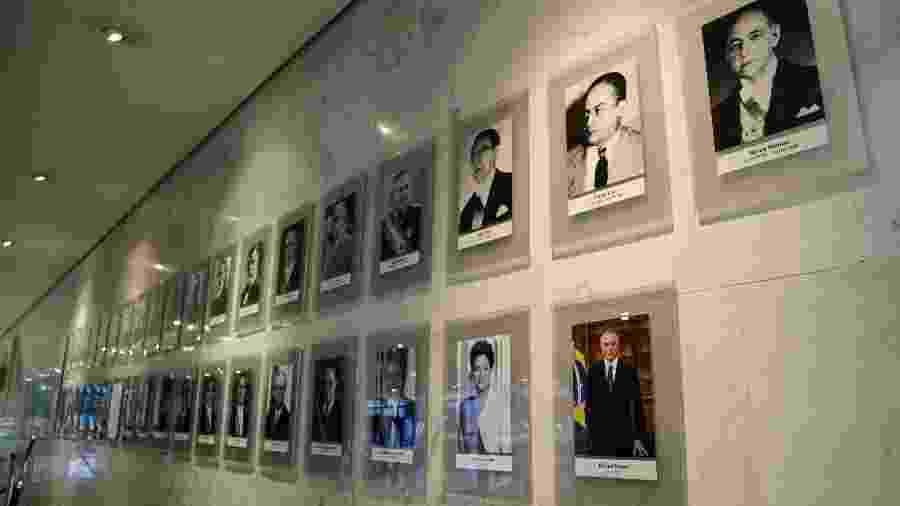 11.dez.2018 - Fotografia do presidente Michel Temer foi colocada na galeria de presidentes da República no Palácio do Planalto - Walterson Rosa/Folhapress
