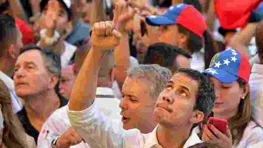 22.fev.2019 - Juan Guaidó durante show em prol da Venezuela em Cúcuta - Luis Robayo/AFP