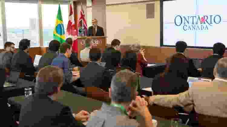 Ademar Seabra, vice-cônsul do Canadá, durante evento da Apex em Toronto - Divulgação/Apex