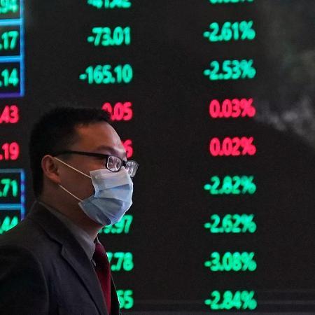 Painel na bolsa de valores de Xangai, China - ALY SONG