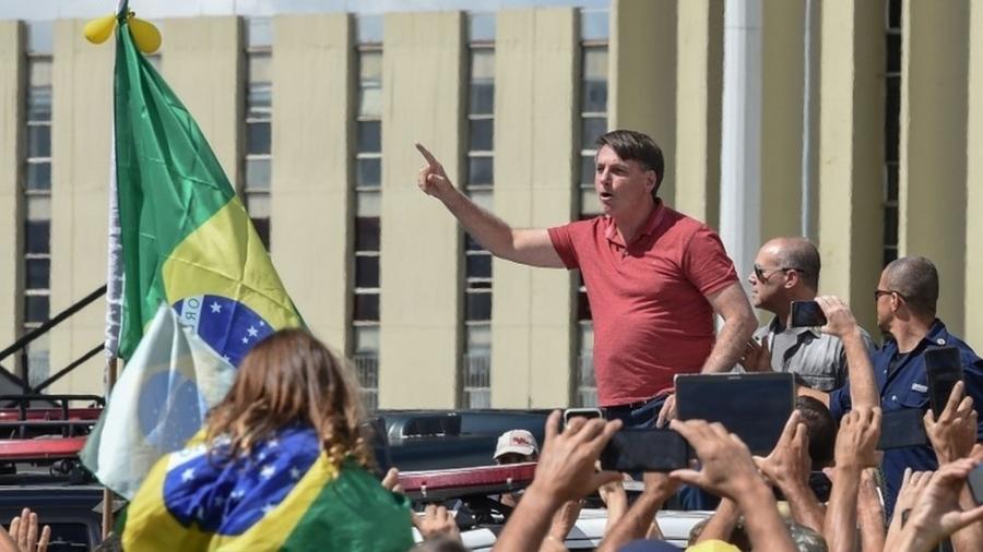 """""""Não queremos negociar nada"""", disse o presidente Jair Bolsonaro em ato - EVARISTO SA/AFP e Getty Images"""