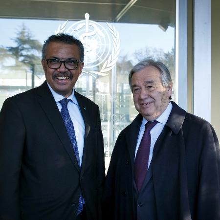 Diretor-geral da OMS, Tedros Adhanom, e secretário-geral da ONU, António Guterres - POOL New