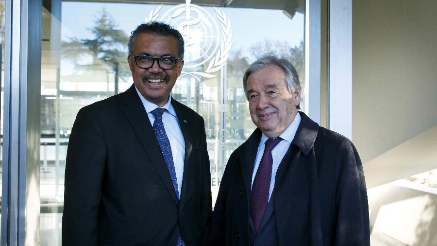 Secretário-geral da ONU, António Guterres, e diretor-geral da OMS, Tedros Adhanom - POOL New