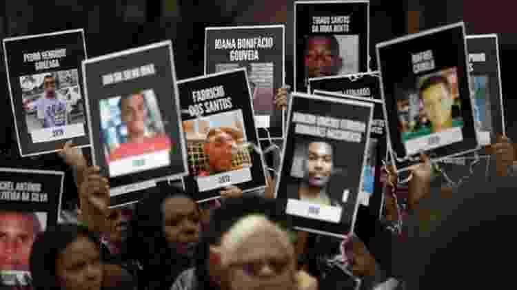 Jovens são as principais alvos de homicídio no país; acima, moradores do Rio levantam cartazes de vítimas da violência - Reuters - Reuters