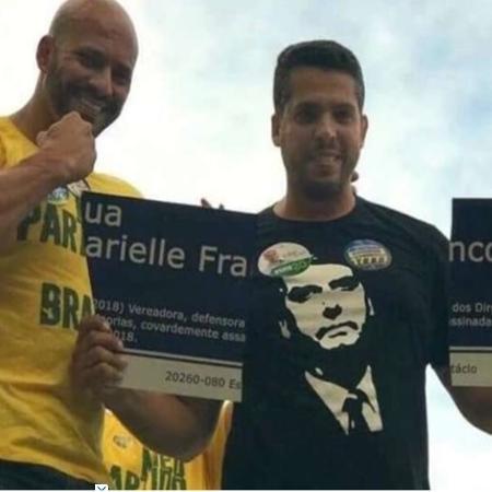 Daniel Silveira, quando candidato, rasga placa de Marielle - Reprodução/Twitter