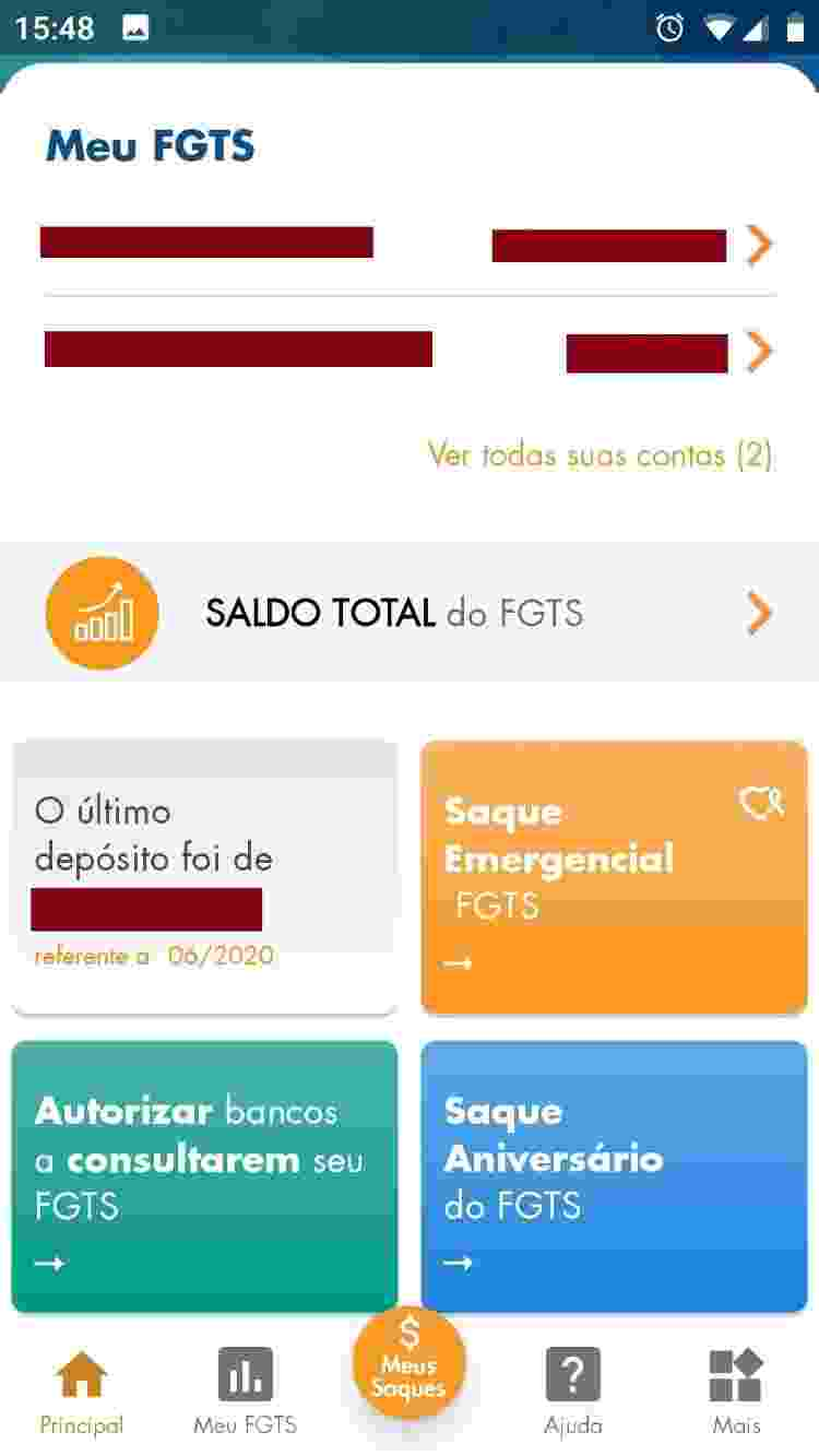 FGTS 1 - Reprodução/App FGTS - Reprodução/App FGTS