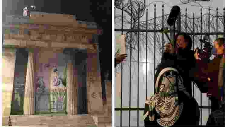 O trompetista Richard Fermino em dois momentos; no alto do pórtico do cemitério, e à frente da entrada - Paulo Sampaio/UOL - Paulo Sampaio/UOL