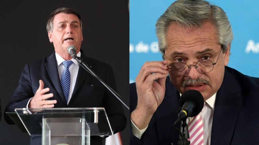 O presidente Jair Bolsonaro (sem partido) e o presidente da Argentina, Alberto Fernández - Marcos Corrêa/PR e Juan Mabromata - Pool/Getty Images