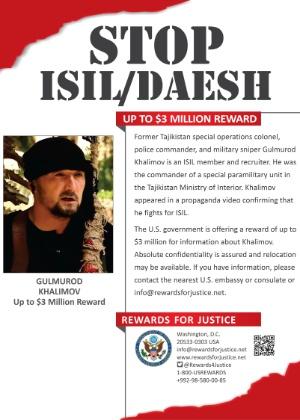 Anúncio de recompensa por informação sobre Gulmorod Khalimov - AFP
