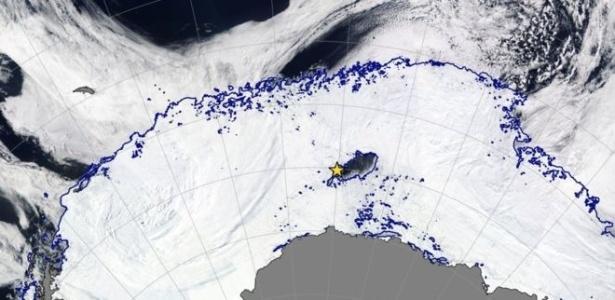 A área onde fica a abertura, em uma imagem de de satélite da Nasa