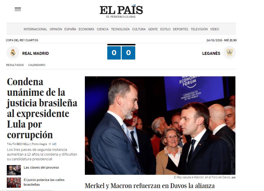 """Manutenção da condenação de Lula virou manchete no espanhol """"El País"""""""