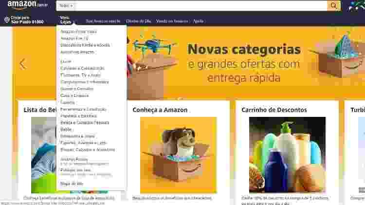 Nova página principal da Amazon mostra novas categorias de produtos - Reprodução - Reprodução