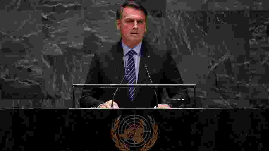 24.set.2019 - O presidente Jair Bolsonaro durante discurso na 74ª Assembleia Geral da ONU, em Nova York - Johannes Eisele/AFP