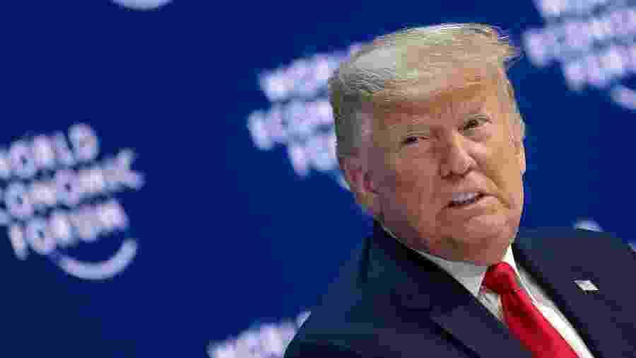 21.jan.2020 - Donald Trumpo, presidente dos Estados Unidos, no Fórum Econômico Mundial, em Davos, na Suíça - Jim Watson/AFP