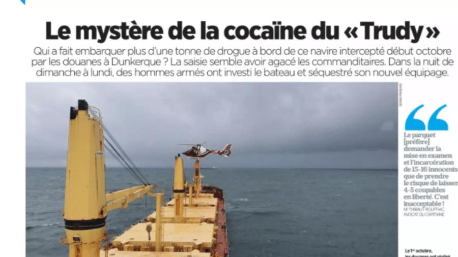 Navio Trudy tinha mais de uma tonelada de cocaína - Reprodução/Le Parisien via RFI