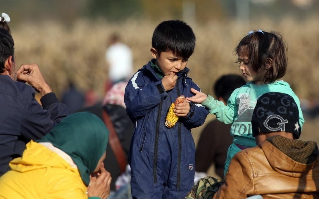 27.out.2015 - Em local próximo à cidade de Rigonce, na Eslovênia, crianças refugiadas comem milho enquanto esperam o grupo de imigrantes do qual fazem parte seguir caminho rumo à fronteira com a Croácia