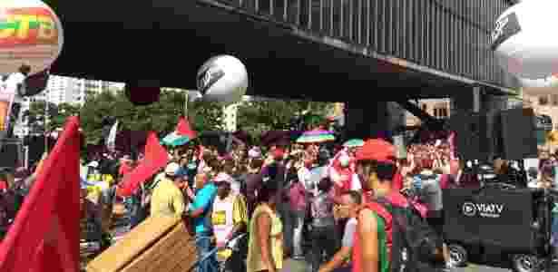 Manifestantes pró-governo se concentram no vão livre do Masp, em São Paulo - Gabriel Francisco Ribeiro/UOL