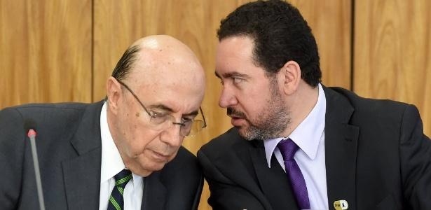Os ministros Henrique Meirelles (Fazenda, à esq.) e Dyogo Oliveira (Planejamento)