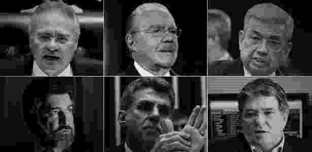 Renan Calheiros, José Sarney, Garibaldi Alves, Sérgio Machado, Romero Jucá e  Valdir Raupp foram denunciados pela PGR por corrupção passiva e lavagem de dinheiro - Arte UOL - Arte UOL