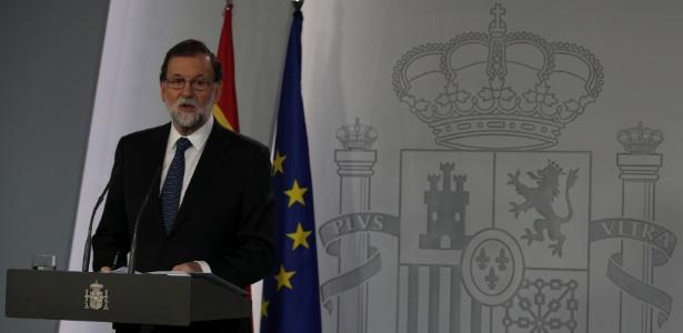 """1º.out.2017 - """"A separação da Catalunha não vai ocorrer"""", disse o primeiro-ministro da Espanha, Mariano Rajoy, nesta segunda-feira (9)"""