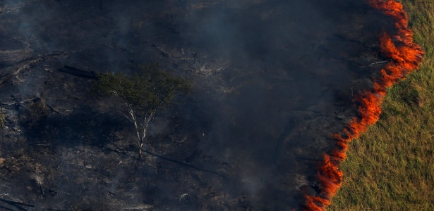 Incêndio florestal em área de desmatamento no estado do Amazonas - 4.ago.2017 - Bruno Kelly/Reuters