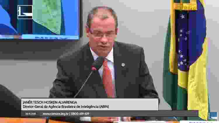 28.nov.2018 - Janér Tesch Hosken Alvarenga, diretor-geral da Abin (Agência Brasileira de Inteligência) - Reprodução/Câmara dos Deputados - Reprodução/Câmara dos Deputados