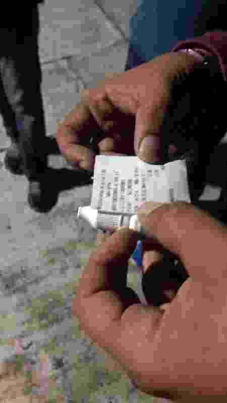 Suspeito levava no bolso frascos com líquidos que serão analisados pela polícia - Arquivo pessoal