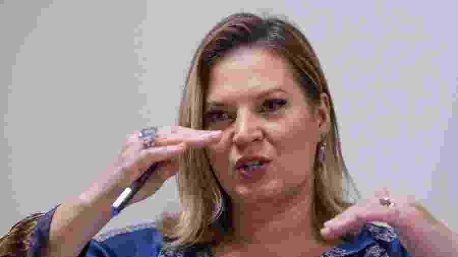 8.mar.2019 - A líder do governo no Congresso, deputada Joice Hasselmann (PSL-SP) durante entrevista à Folha em seu gabinete - Pedro Ladeira/Folhapress