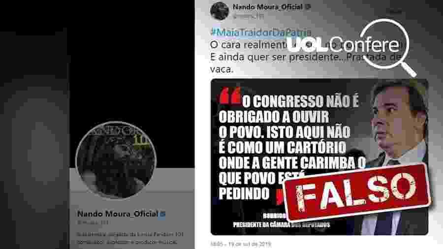 25.set.2019 - Post atribui a Rodrigo Maia declaração falsa sobre votações no Congresso - Arte/UOL