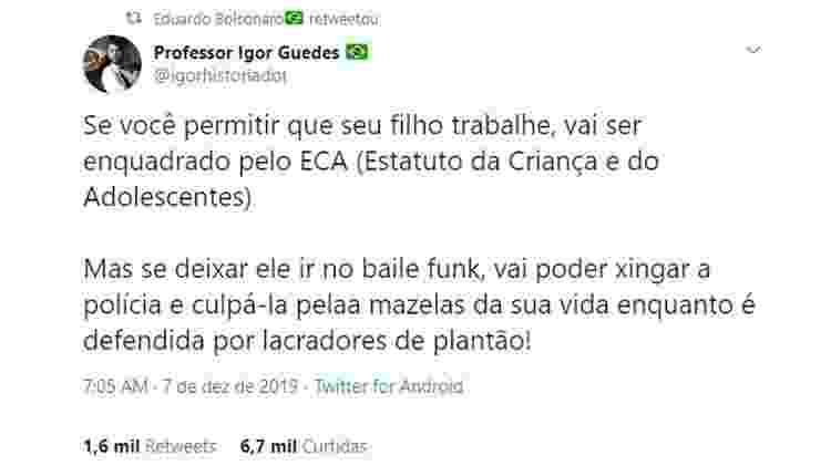 Eduardo Bolsonaro critica bailes funk no Twitter - Reprodução/Twitter