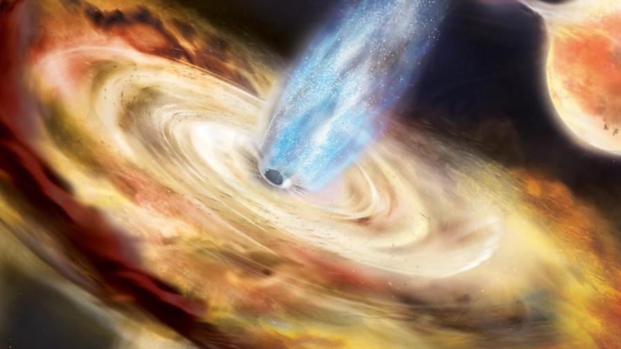 Ilustração de um buraco negro - Aurore Simonnet e Nasa