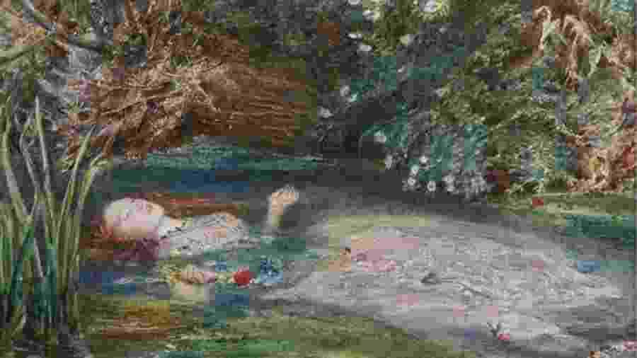 """Siddal tornou-se famosa por estampar obras como a melancólica """"Ophelia"""" (1851-2), de John Everett Millais - Coleção privada"""