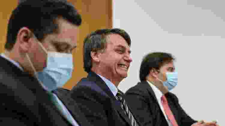 21/5/2020 - Jair Bolsonaro com os presidentes do Senado Davi Alcolumbre, e da Câmara Rodrigo Maia -  Marcos Corrêa/PR -  Marcos Corrêa/PR