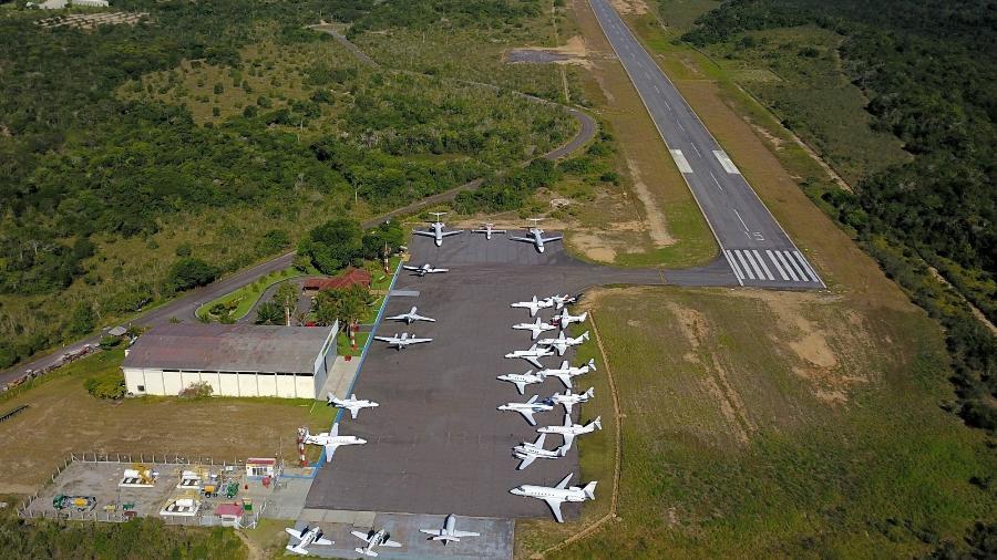"""Aeroporto de Trancoso foi um dos destinos que tiveram """"congestionamento"""" de aviões (foto de 2018)  - Reprodução/Facebook/Aeroporto Terravista"""