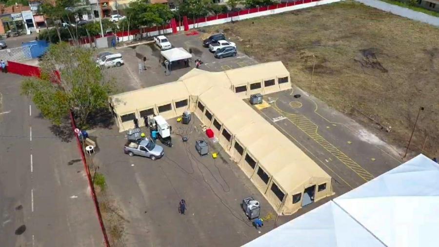 Hospital de campanha de Bacabal foi erguido pelo Exército dos EUA em dois dias - Divulgação/Governo do Maranhão