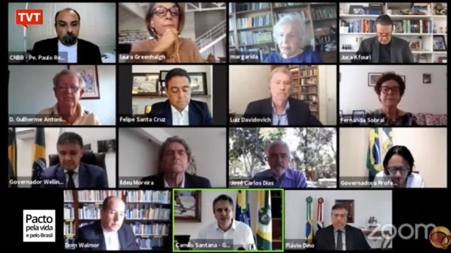 Lideranças de entidades debatem manifesto sobre a covid-19 com governadores - Reprodução/TVT