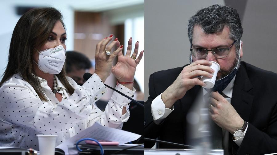 Katia Abreu e Ernesto Araújo ficaram cara a cara na CPI da Covid  - Edilson Rodrigues/Agência Senado