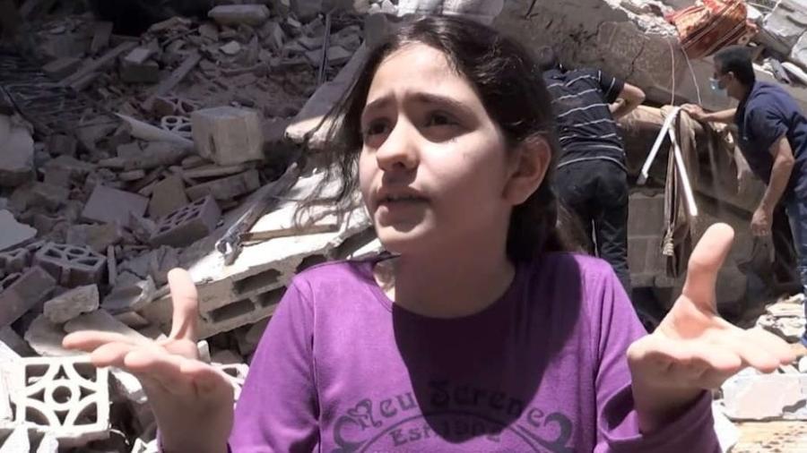 Menina de dez anos reflete sobre destruição em Gaza - Reprodução/NBC News