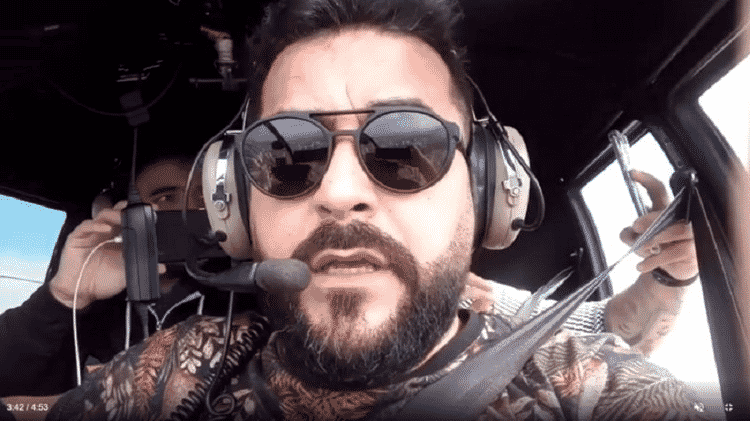 Jackson Villar em transmissão ao vivo durante sobrevoo do percurso da motociata em São Paulo - REPRODUÇÃO/INSTAGRAM - REPRODUÇÃO/INSTAGRAM